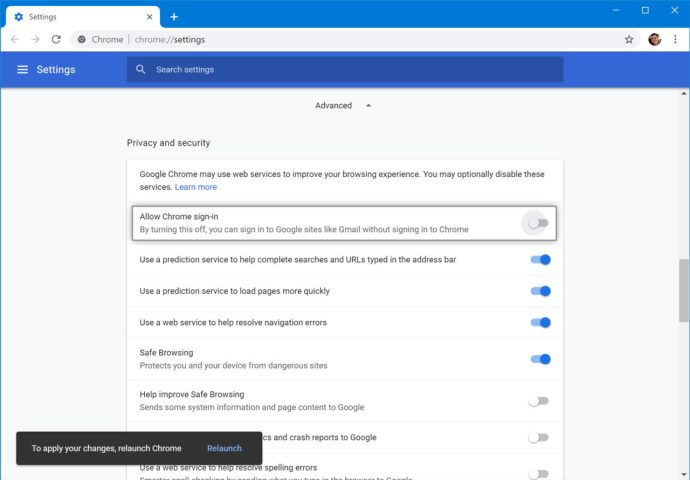 turn off chrome auto sign-in