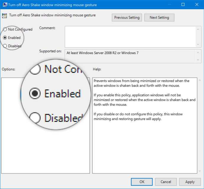 disable aero shake via the group policy editor