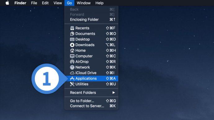 go to applications menu mac desktop