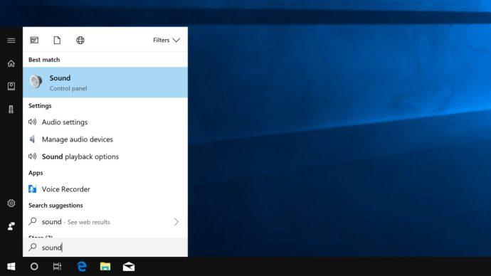 windows 10 sound start menu