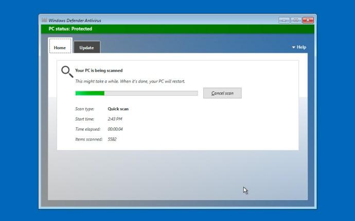 Windows Defender offline skanning körs