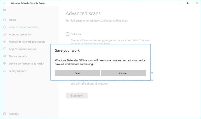 windows defender offline scan reboot warning