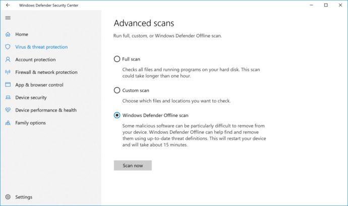 Windows Defender offline skanningsknapp
