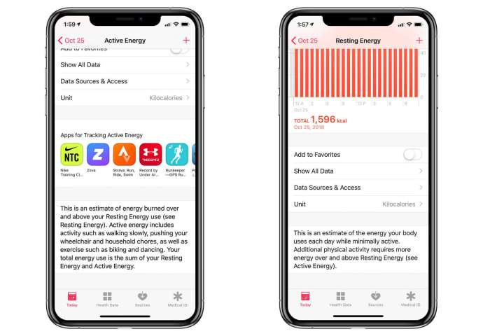iphone calories active resting