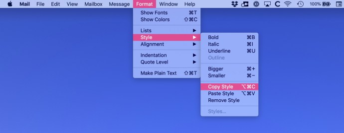 mail mac copy paste style