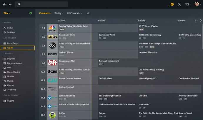 plex live tv guide web