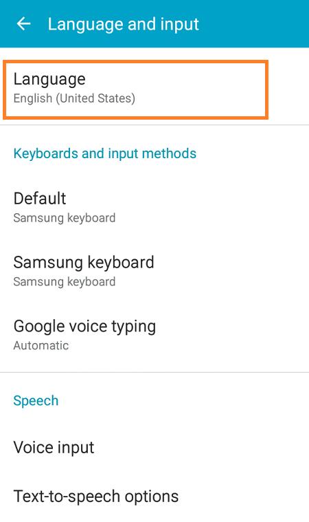 Galaxy J2 Change Language