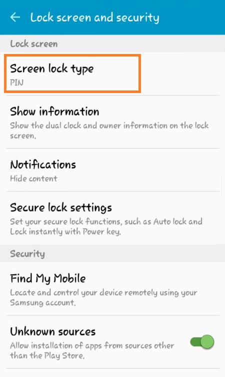 Galaxy J2 Lock Screen