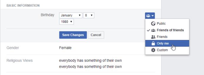 Hide birthday for Facebook friends