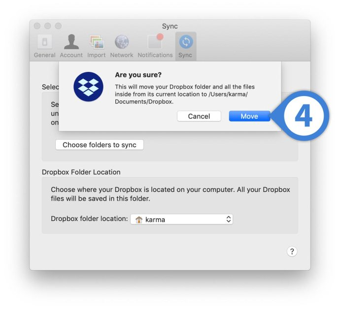 change dropbox location mac