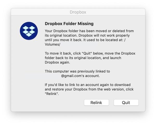 dropbox folder missing mac