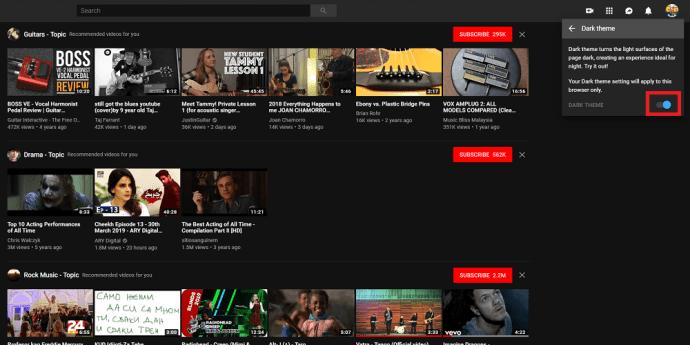 YouTube's dark mode