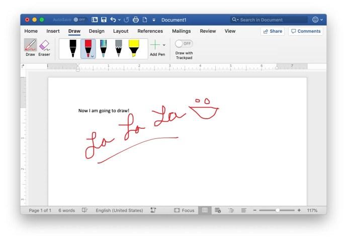 draw in word mac