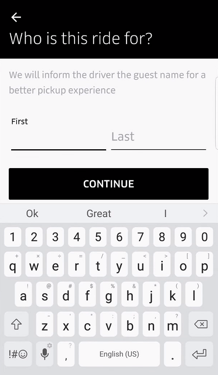 Book Uber for someone else