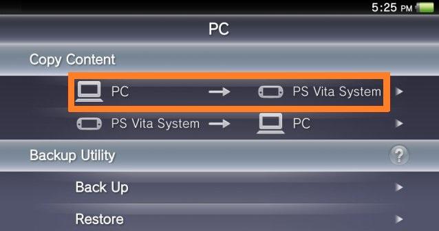 PC to PSVita system