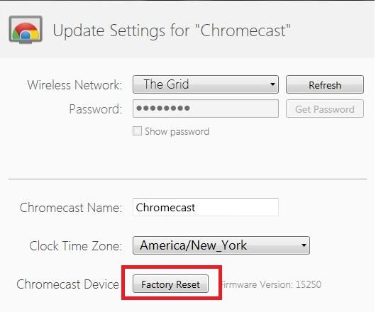 Chromecast Reset