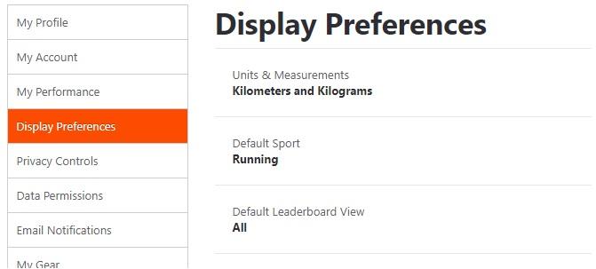 strava display settings