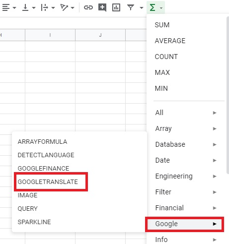 translate google spreadsheet
