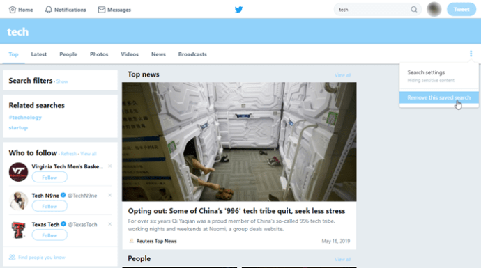 Twitter'da Kaydedilmiş Aramaları Sil