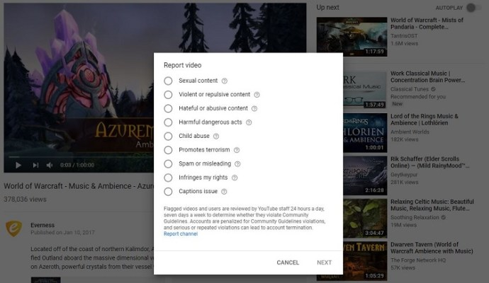 Report a Video on Computer