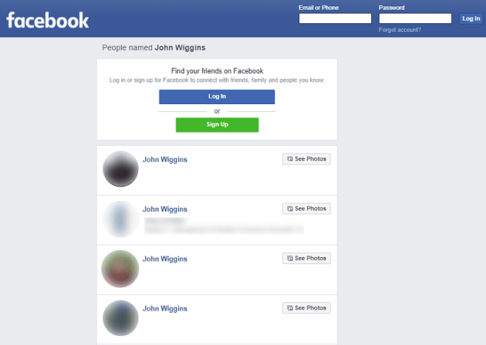 Find people on Facebook without registration