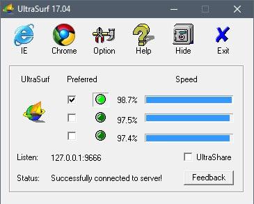 Set Proxy in Ultrasurf
