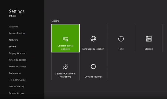 System Info xbox one