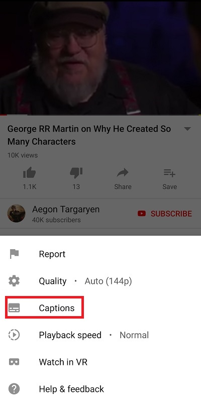 Turn on Captions Android