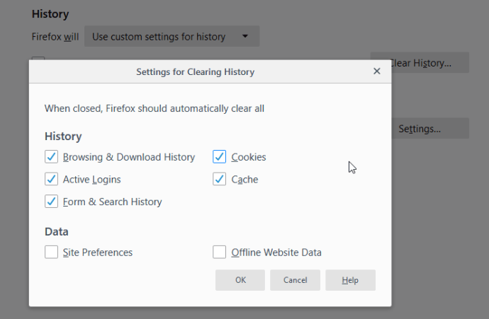 automatically delete browsing history on firefox