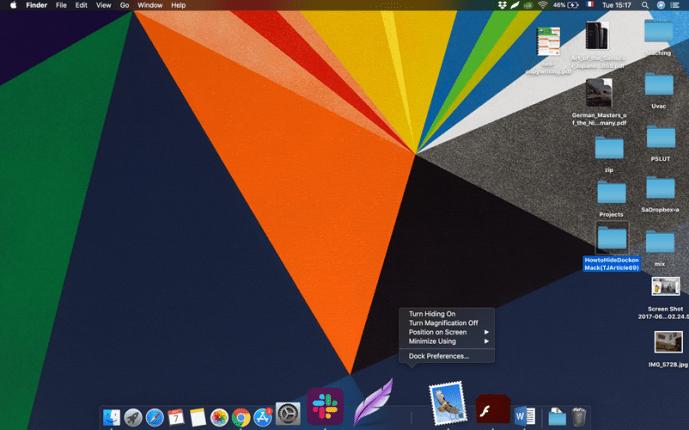 hide dock on mac