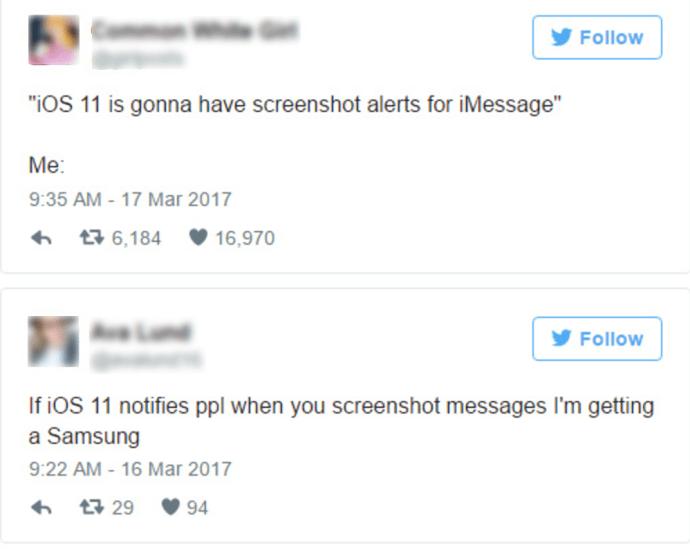iphone how to tell someone screenshots