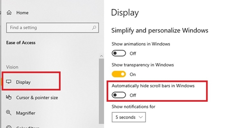 Automatically hide scroll bars in Windows