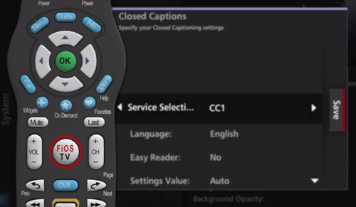 Fios how to Turn on or off Closed Captioning