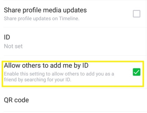 allow others to add me by ID
