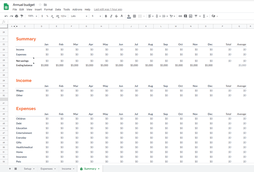 annual budget google sheets