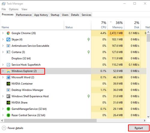 file explorer restart