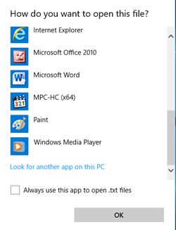 look for another app on this PC