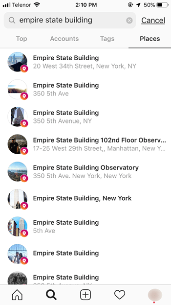 the basic location search