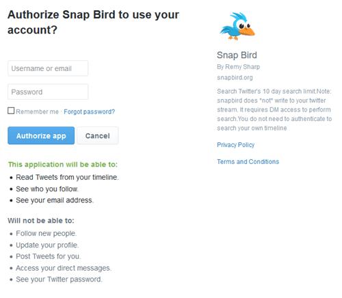 Authorize Snap Bird