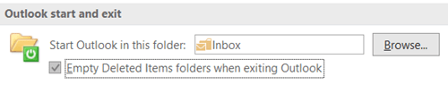 Empty Deleted Items folders when exiting Outlook
