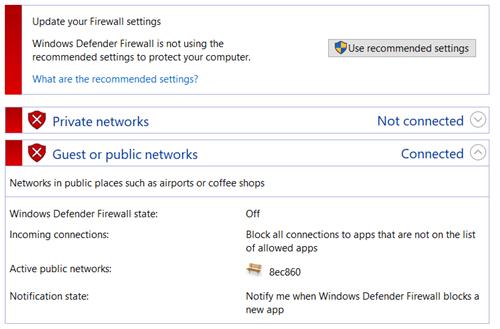 Firewall turned off