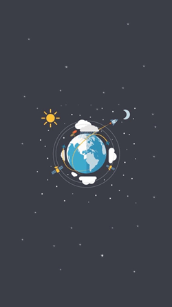 Earth, satellites and moon