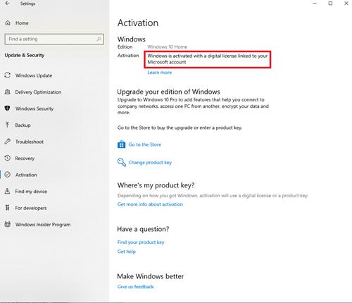 Windows Activation window