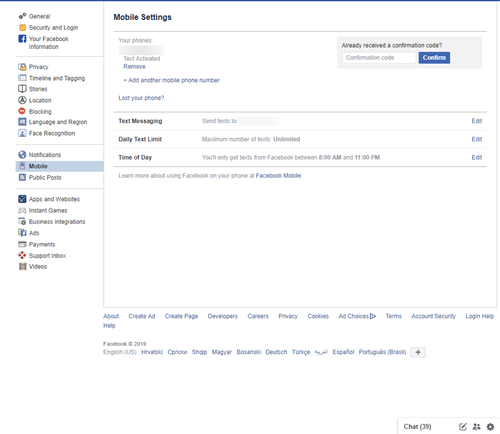fb mobile settings