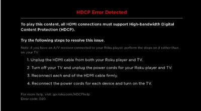 roku HDCP error