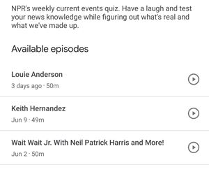available episodes