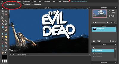 Remove background in Pixlr editor