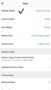 goals starting weight