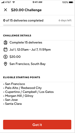 how to see my doordash earnings - challenge details
