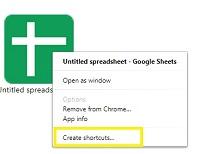 create shortcuts